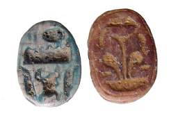 A lot of 2 Egyptian steatite scarabs, New Kingdom