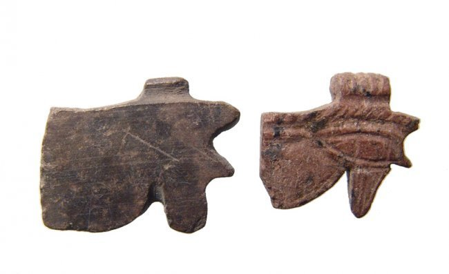 A pair stone Eye of Horus amulets, Late Period