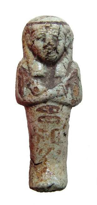 Egyptian 3rd Intermediate bi-color faience ushabti
