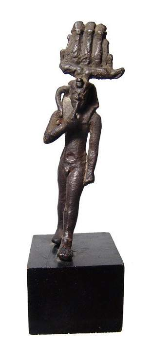 Egyptian bronze figure of Harpokrates, Late Period