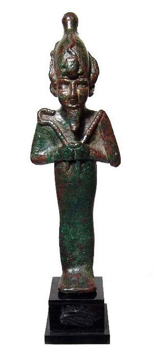 Egyptian bronze figure of Osiris with silver inlaid