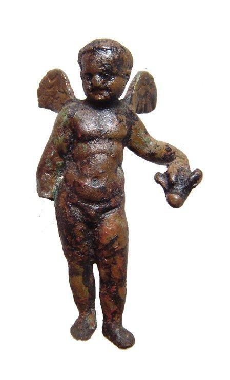 A Roman bronze figure of winged Eros