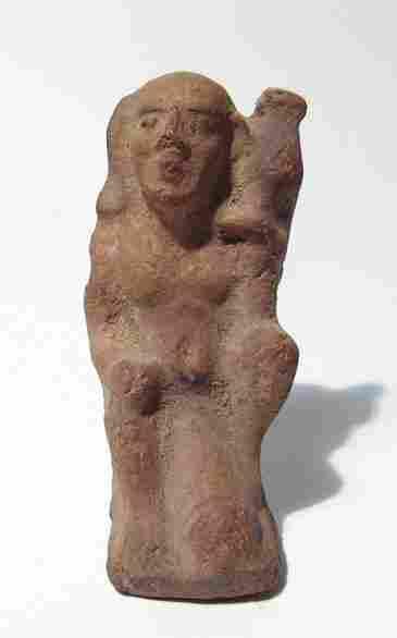 Egyptian ceramic figure of ithyphallic Horus