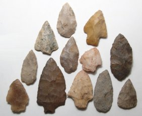 A Lot Of 12 Mixed Spear Points And Arrowheads, Various