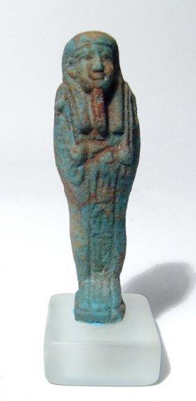 Egyptian Blue-green Faience Ushabti, Late Period