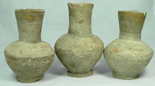 A lot of 3 early Greek terracotta footed, sprinkler