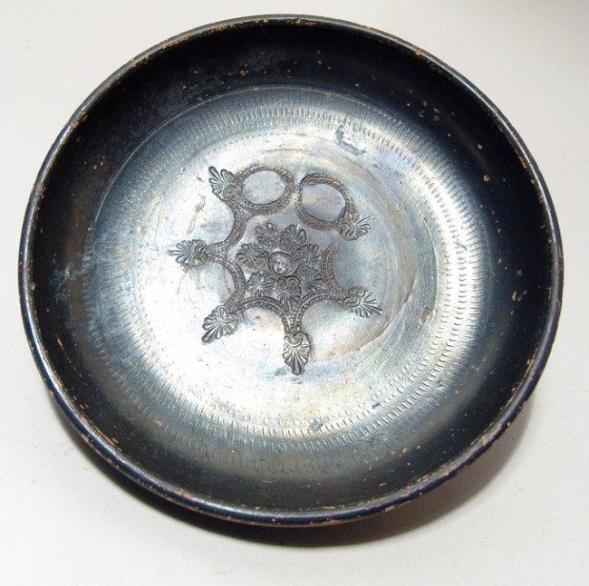 Campanian black ware bowl with impressed design, Magnia
