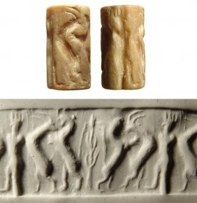 Sumerian Tan Shell Cylinder Seal With A Contest Scene,