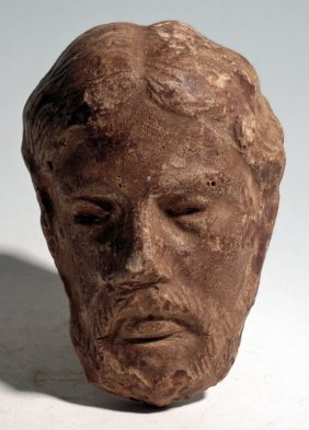 Pottery Attachment Of A The Head Of A Bearded Man, Ca