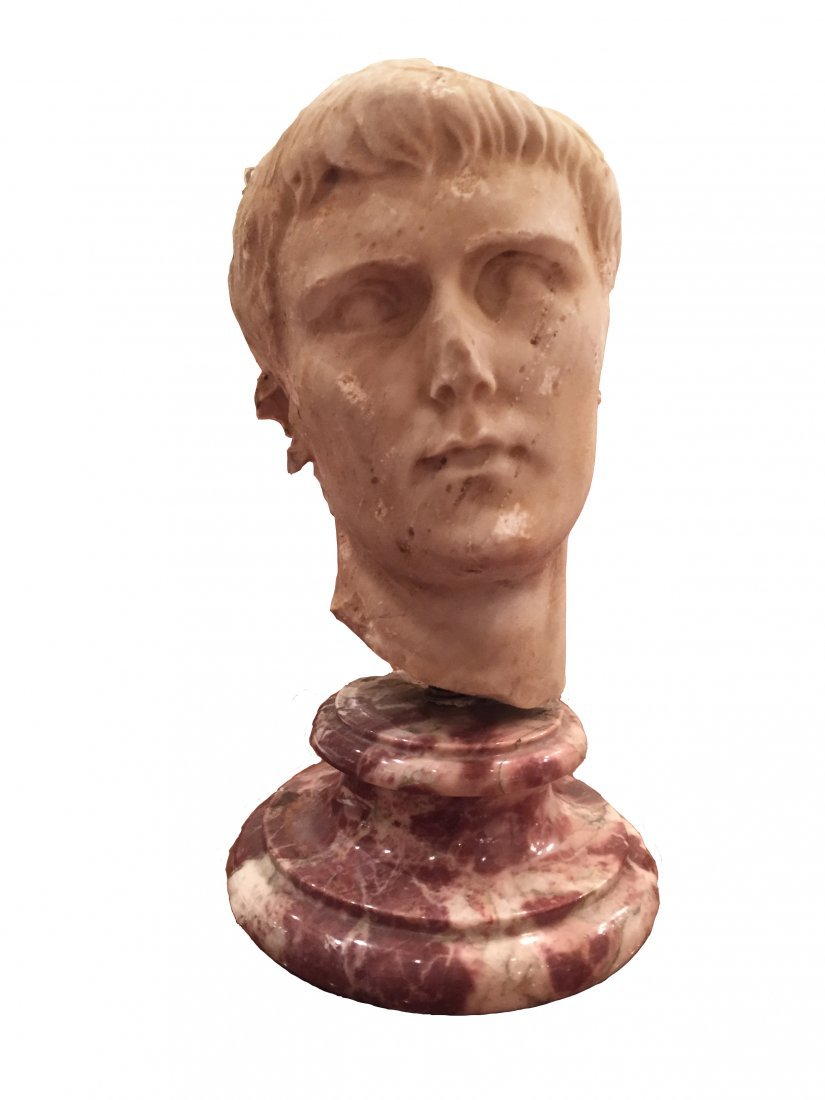 Roman marble head in manner of Augustus