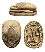 A choice Egyptian steatite scarab, 2nd Intermediate