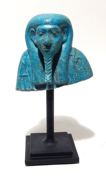 Egyptian blue faience bust from a huge ushabti, Late