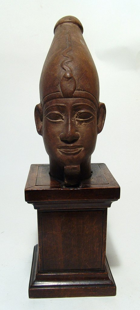 Egyptian carved stone head of a deity