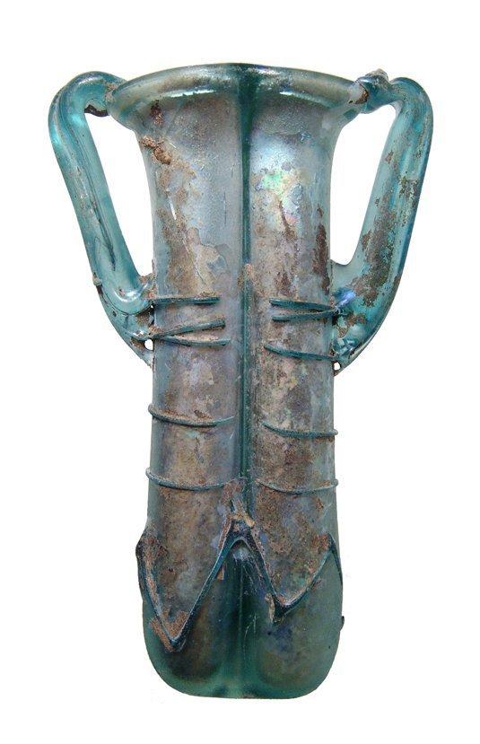 A lovely Roman blue glass double-unguentarium