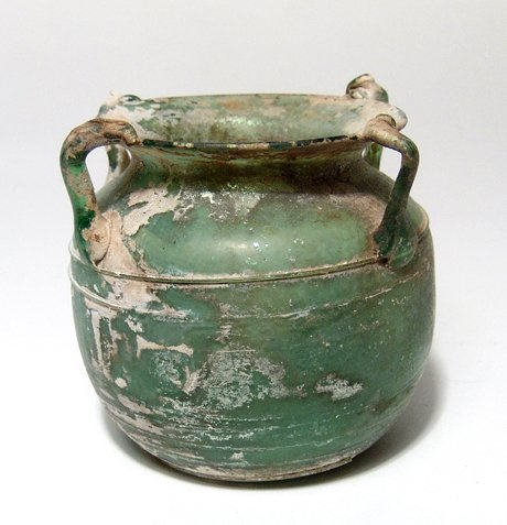 A fantastic Roman green glass vessel - 3