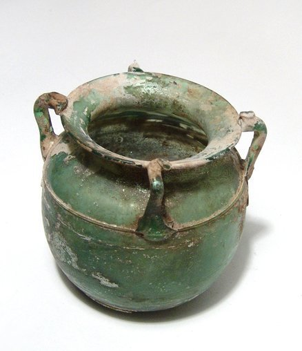 A fantastic Roman green glass vessel - 4