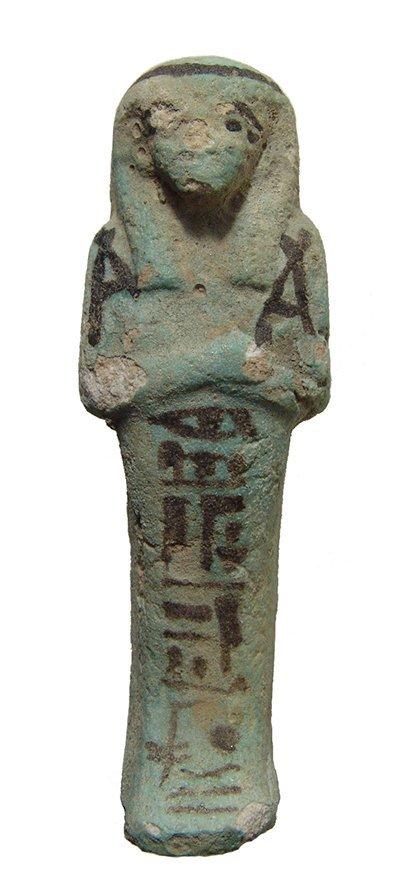 A nice Egyptian bicolor faience ushabti