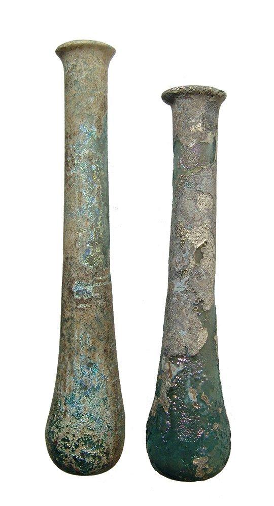 A pair of Roman blue-green glass unguentariums - 2