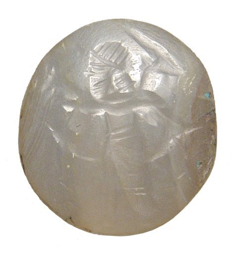 Neo-Assyrian creme chalcedony stamp seal