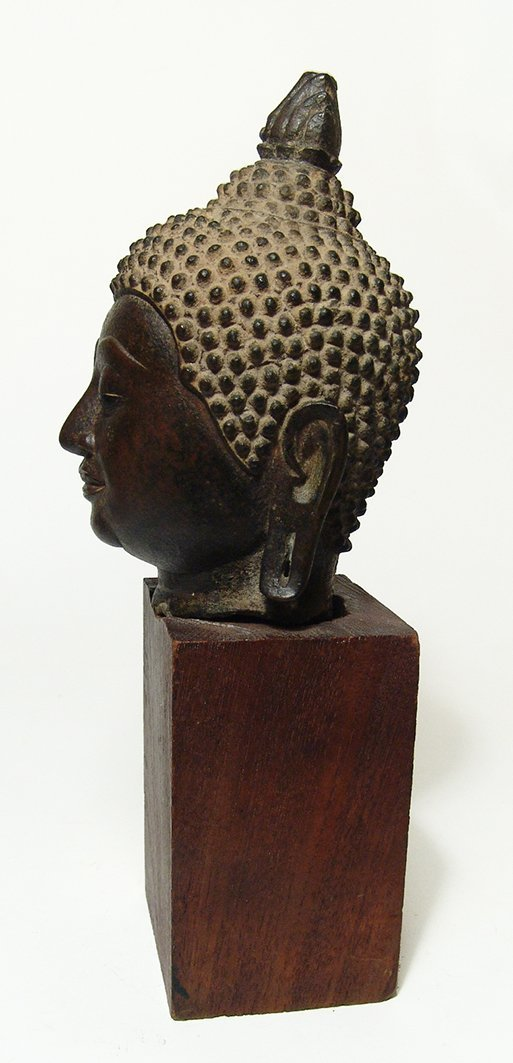 A large bronze head of Buddha, Ayutthaya Period - 4