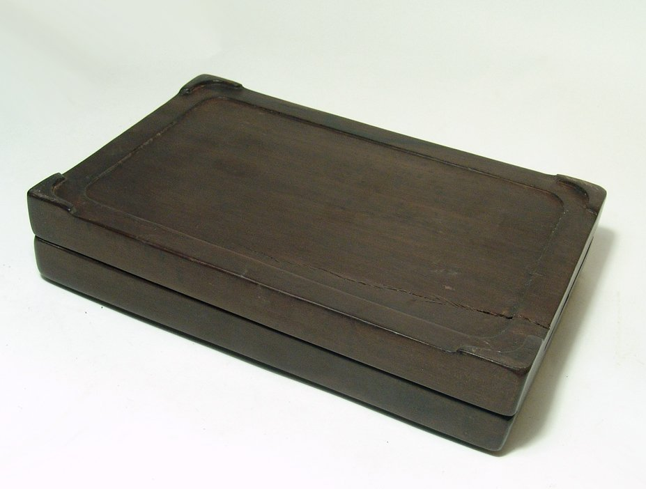A nice Chinese ink stone with carved wood box - 7