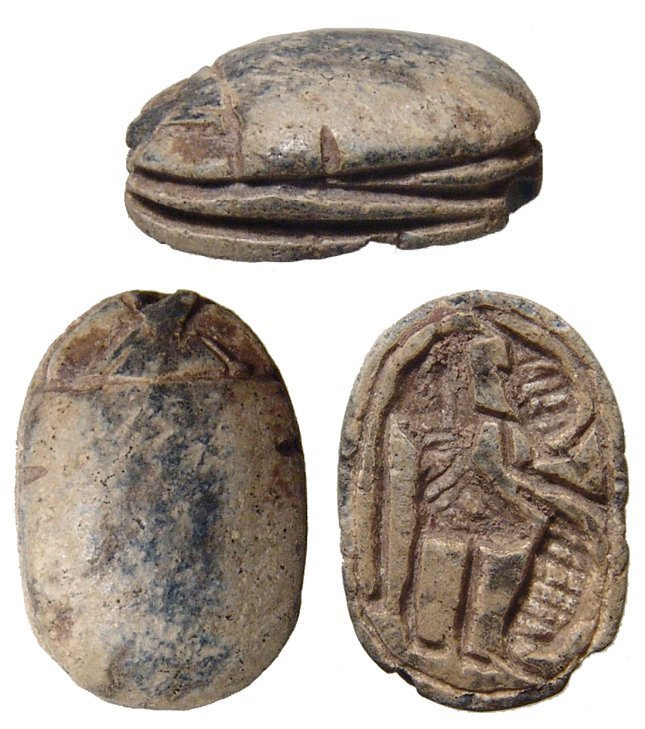 An Egyptian steatite scarab, 2nd Intermediate Period