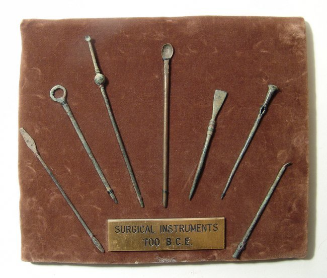 Mounted set of 7 Roman bronze surgical implements