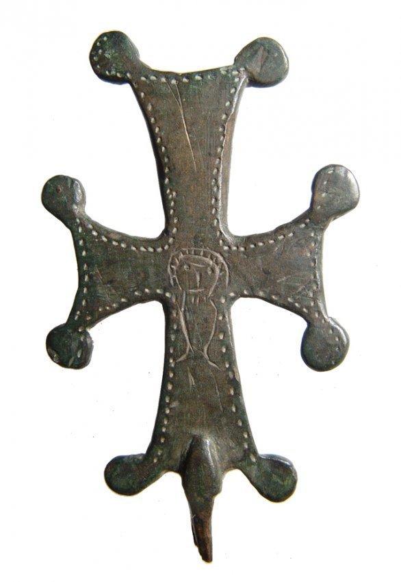 Byzantine bronze cross with Jesus or saint