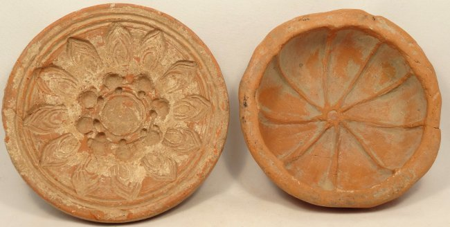 A pair of 2 Indian terracotta bowl molds