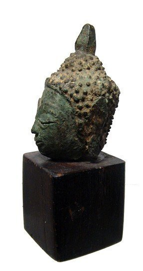 A gilded bronze head of Buddha - 3
