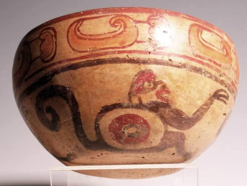 Excellent Maya polychrome bowl from El Salvador