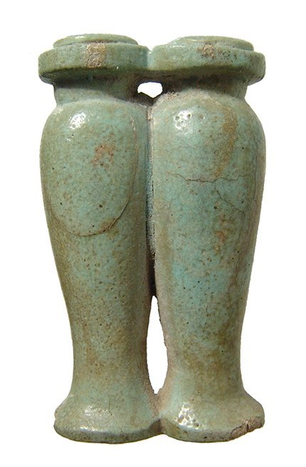 Egyptian pale green faience conjoined offering jars