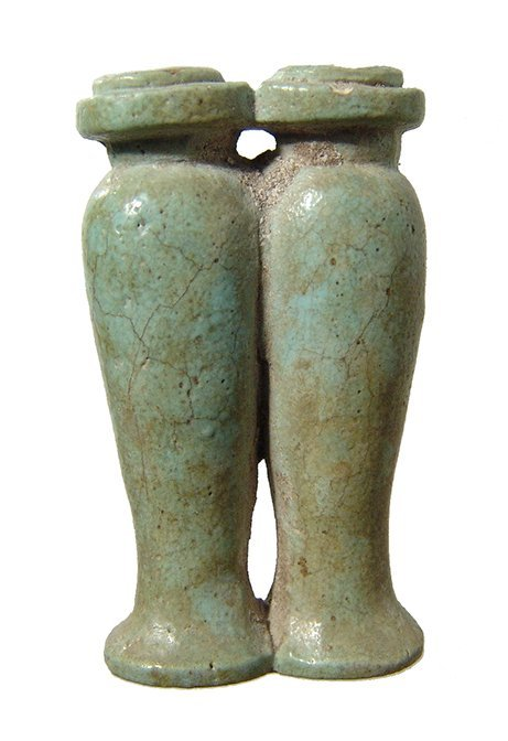 Egyptian pale green faience conjoined offering jars - 2