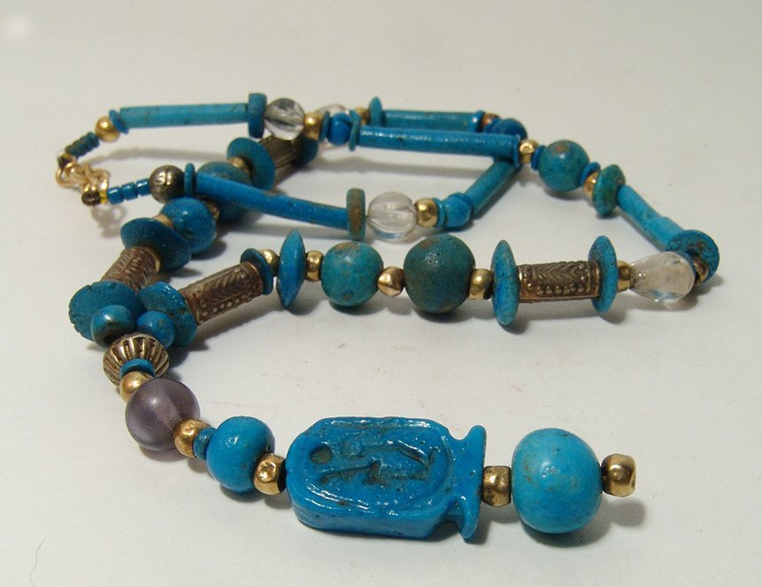 Beautiful Egyptian beaded necklace including cartouche