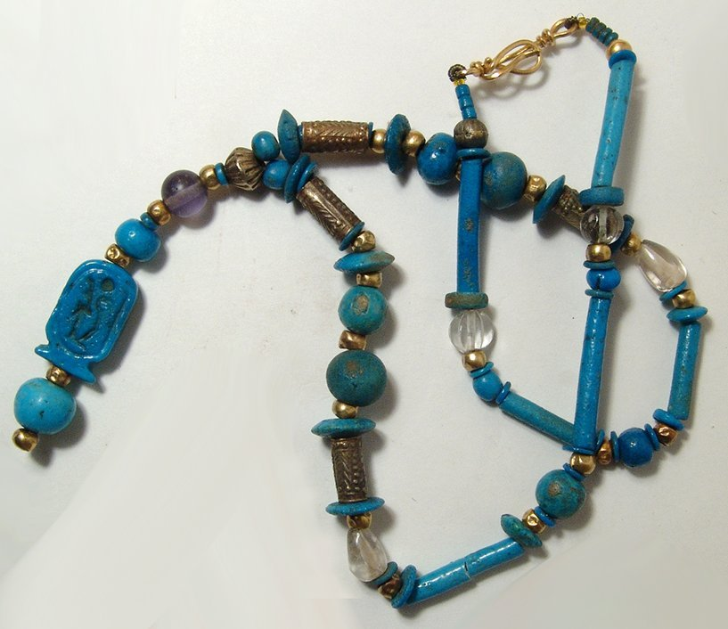 Beautiful Egyptian beaded necklace including cartouche - 2