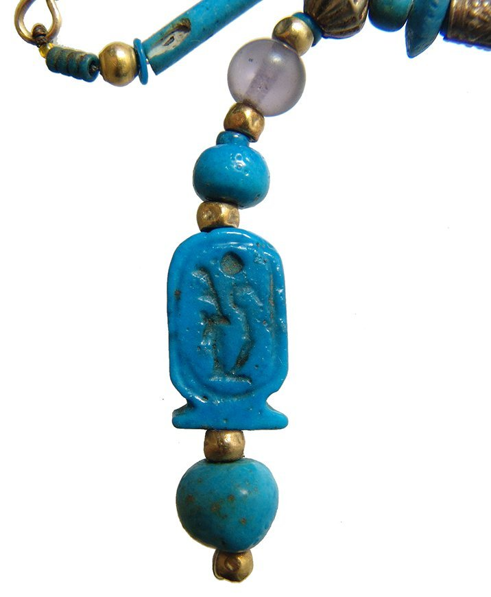 Beautiful Egyptian beaded necklace including cartouche - 3