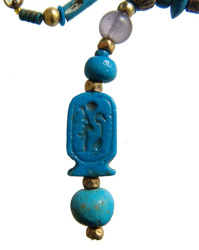 Beautiful Egyptian beaded necklace including cartouche - 4