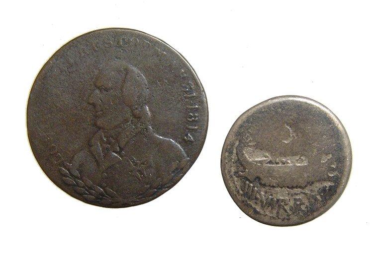 Roman Denarius of Marc Antony and a British token