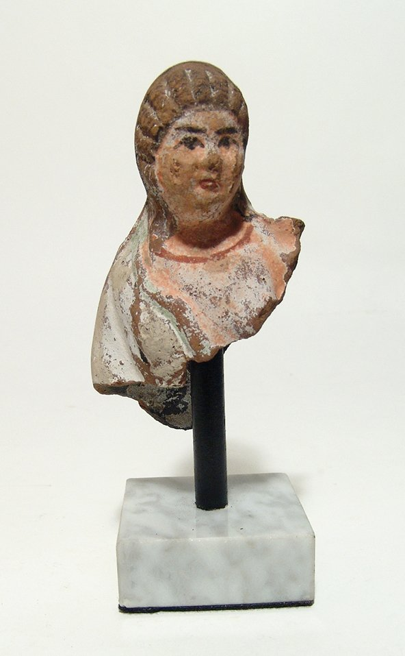 Lovely Greek terracotta bust of a woman, Egypt