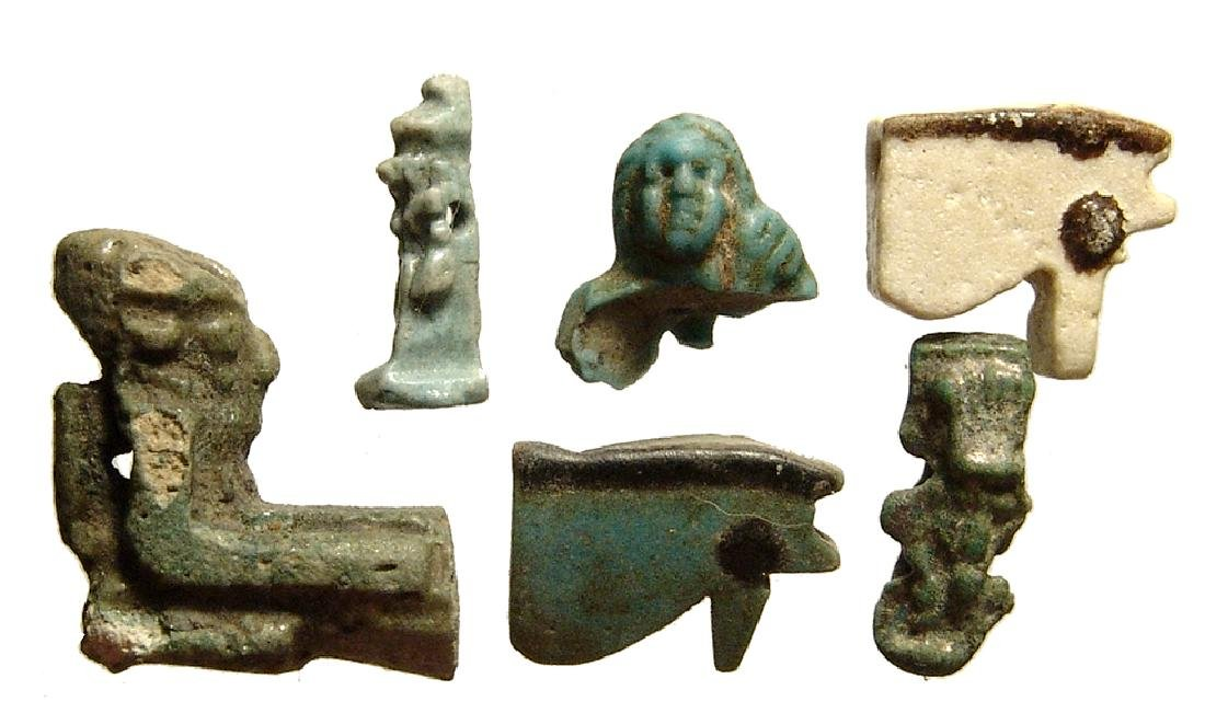 A group of 6 Egyptian faience amulets