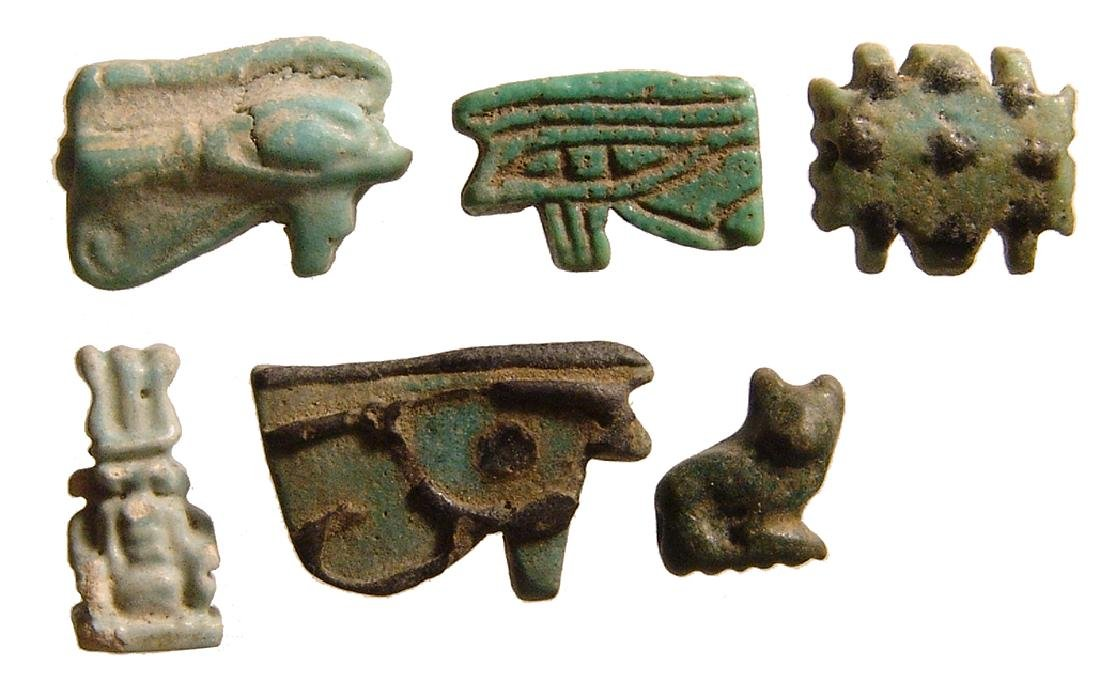 A lot of 6 Egyptian faience amulets, Late Period