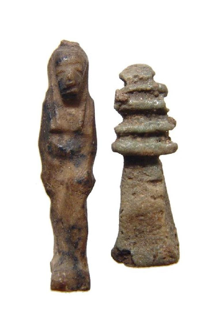 Two Egyptian amulets in Lapis Lazuli and faience