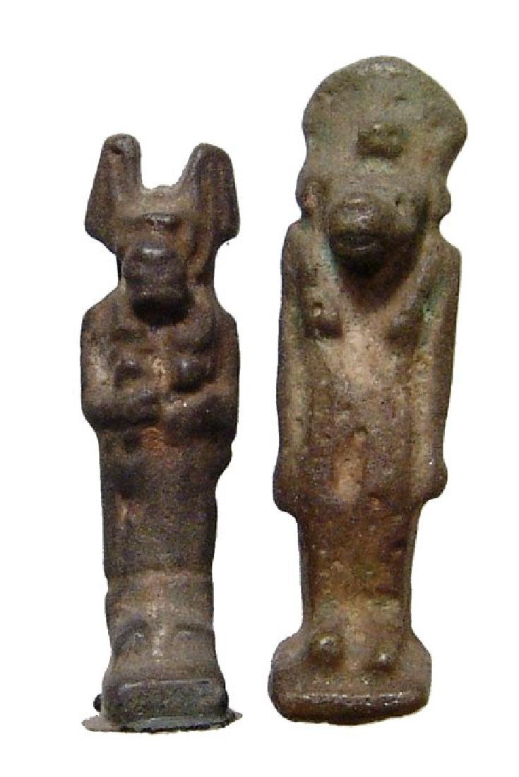 Lovely pair of 2 nice Egyptian green faience amulets
