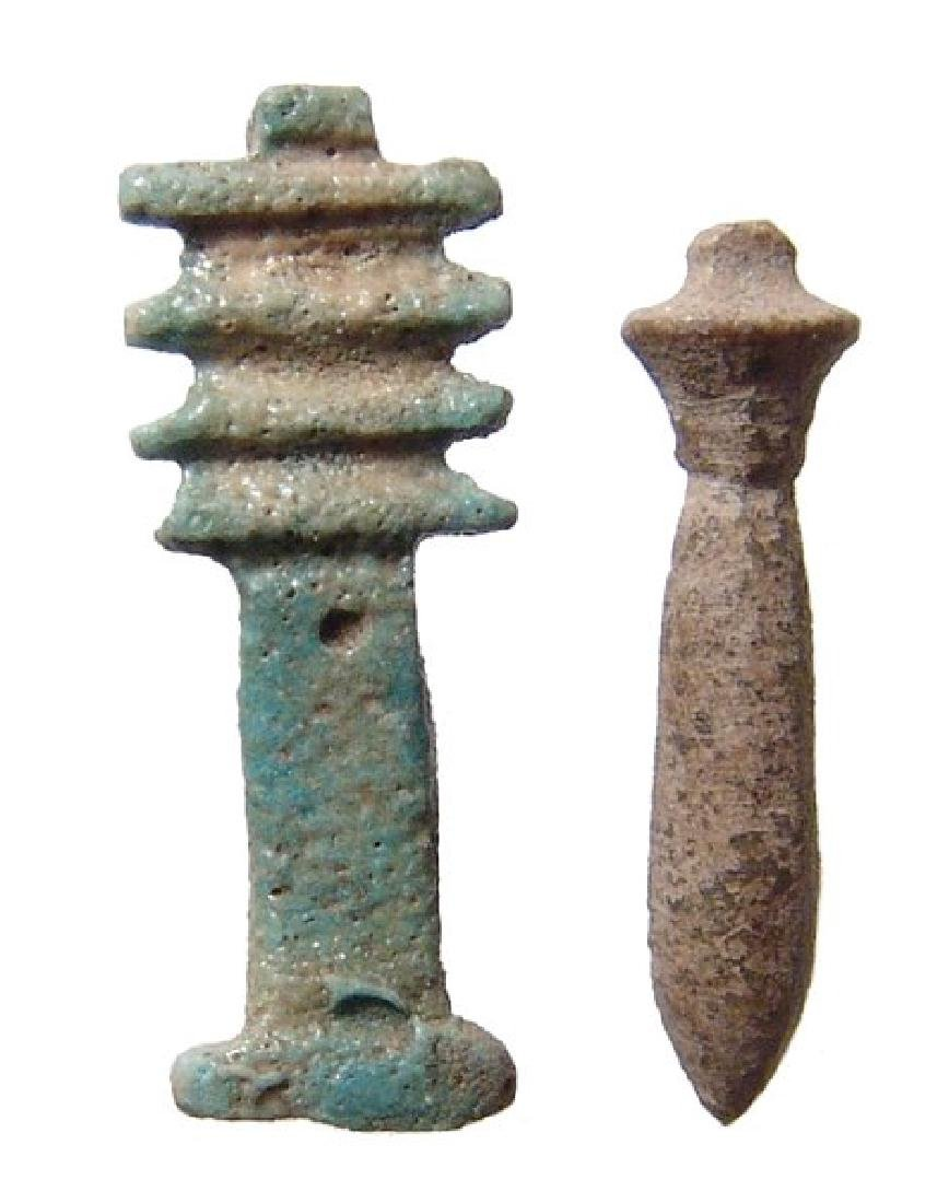 A pair of nice Egyptian faience amulets, Late Period