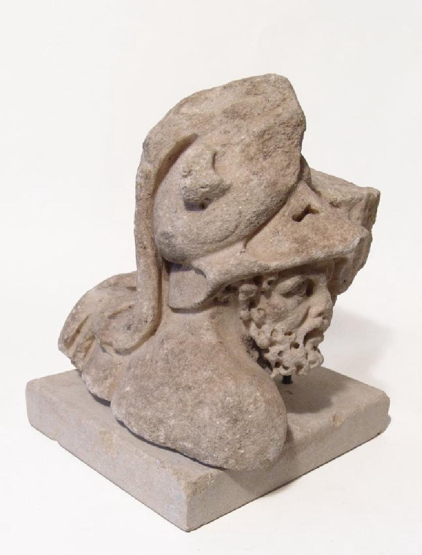 Roman marble fragment of the head of a helmeted Mars