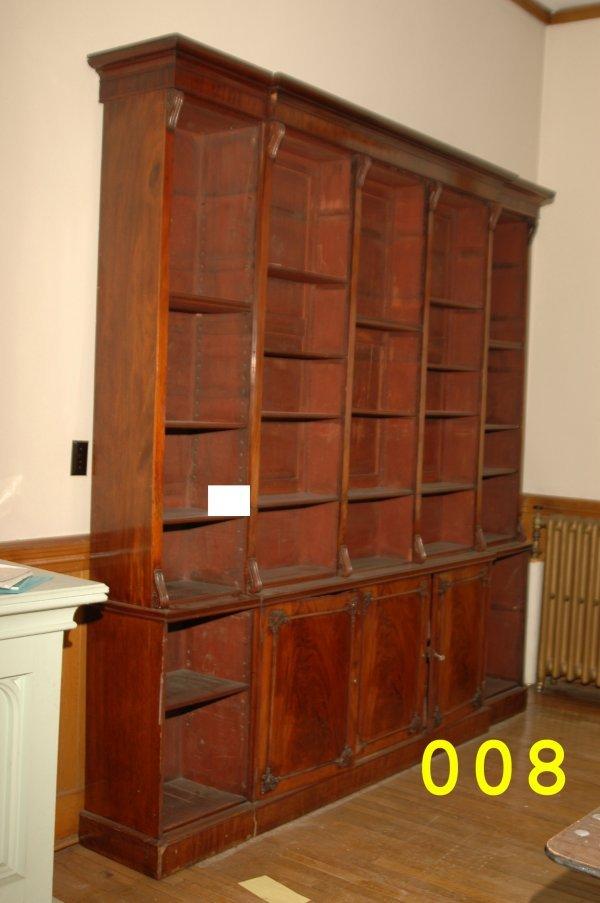 8: Huge mahogany adjustable shelf bookcase