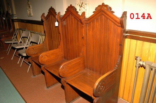 14A: 3 - Seat Gothic Mahogany Pew