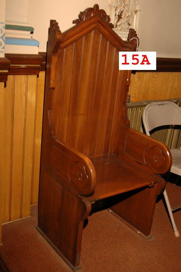 15A: 2 Single seat Gothic mahogany pews