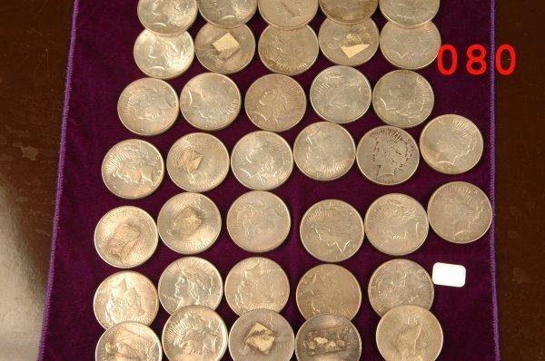 80: 37 Morgan silver dollar coin lot