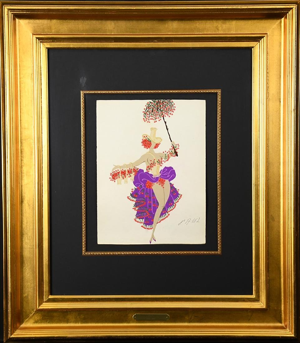 "Erte ""Dancer With Umbrella"" Gouache on paper"